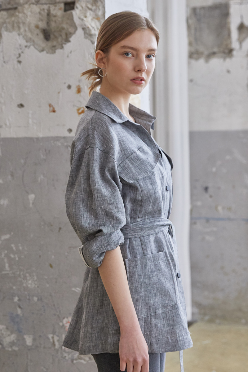 Soft Linen Belt Jacket